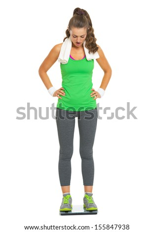 Surprised fitness young woman standing on scales - stock photo