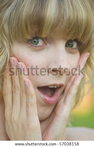 Surprised girl - stock photo