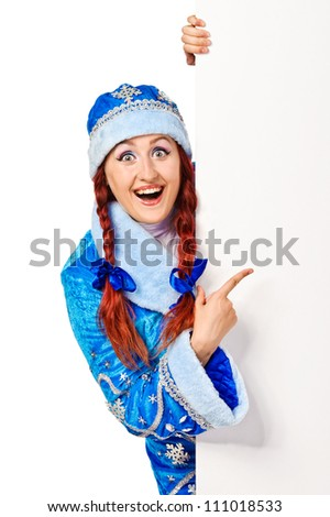 Surprised girl dressing in traditional russian christmas costume  (Snow Maiden) with blank banner, isolated on white background