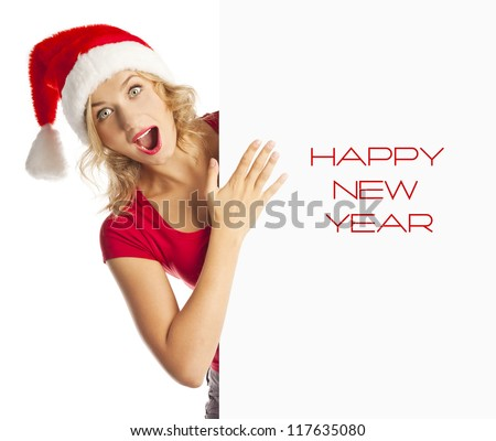 Surprised girl. empty form. Christmas discounts. sale - stock photo