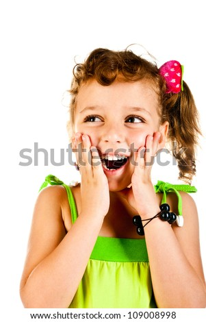 surprised girl on a white background - stock photo