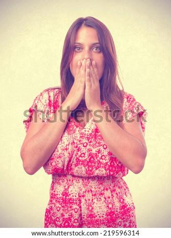 Surprised girl posing - stock photo