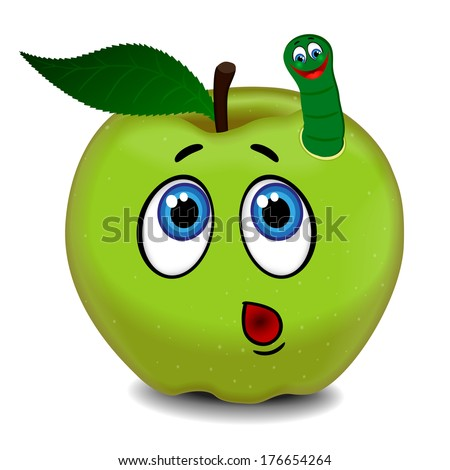 Surprised green apple and cheerful caterpillar. Raster version  - stock photo