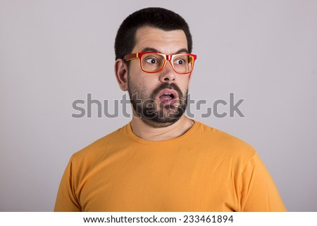 Surprised guy with glasses