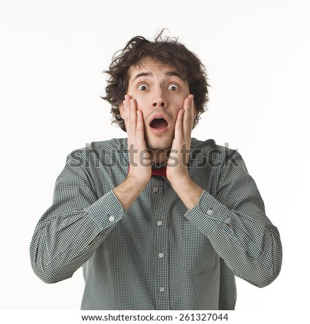 Surprised Handsome Man. - stock photo