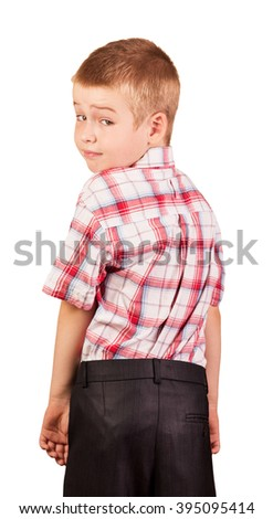 Surprised handsome young boy isolated on white background. - stock photo