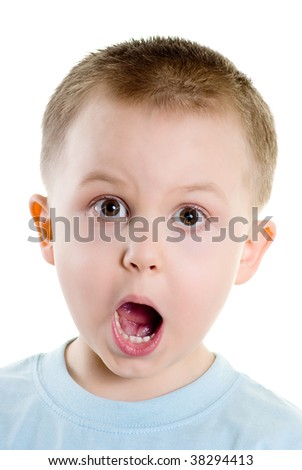 Surprised, happy boy isolated on the white background - stock photo