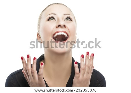 Surprised Happy Young Caucasian Woman Looking Sideways in Excitement. Isolated Over white Background.Horizontal Image Composition - stock photo
