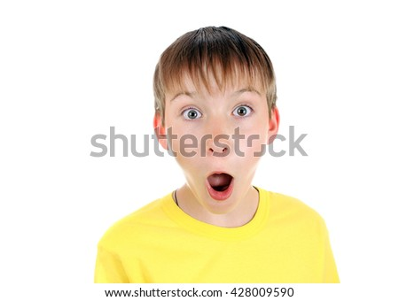 Surprised Kid Isolated on the White Background - stock photo