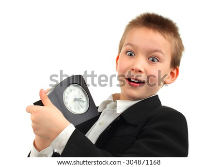 Surprised Kid with Alarm Clock Isolated on the White Background