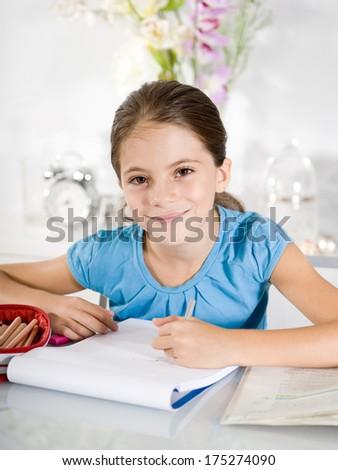 Surprised little girl - stock photo