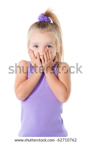 surprised little girl in purple t-shirt isolated - stock photo