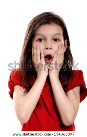 Surprised Little Girl on white background