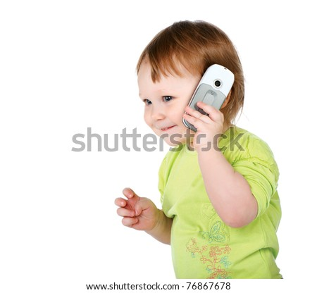 surprised little girl with  phone isolated