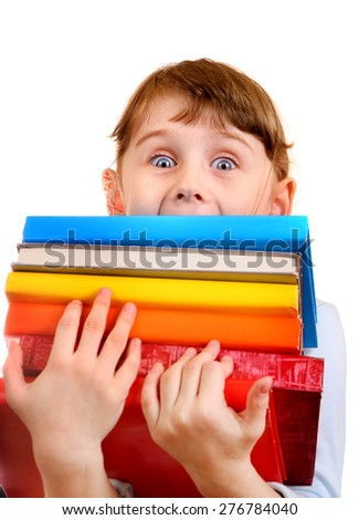 Surprised Little Girl with the Books Isolated on the White Background - stock photo