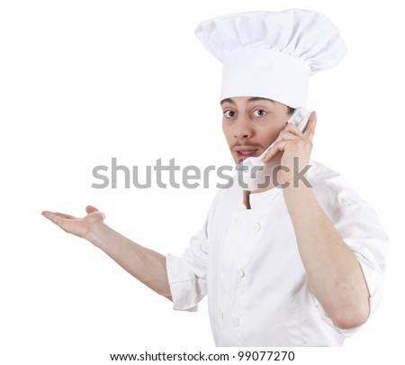 surprised male chef speaking on the phone, white background