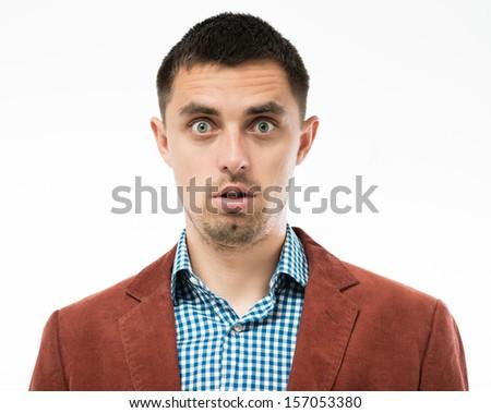 surprised man - stock photo