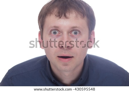 Surprised man isolated on white background - stock photo