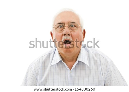 surprised old  man's portrait isolated on white - stock photo
