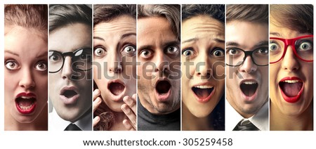 Surprised people - stock photo