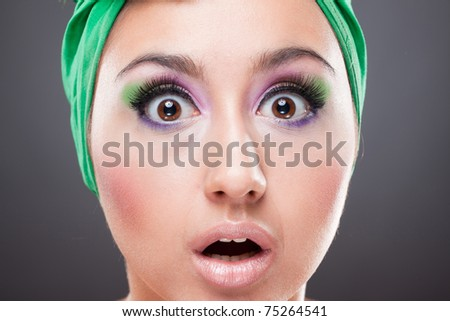Surprised pin-up woman with open eyes and mouth