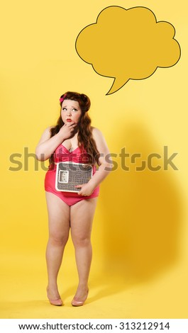 Surprised plus size girl holding scales with thought bubble on yellow background  - stock photo