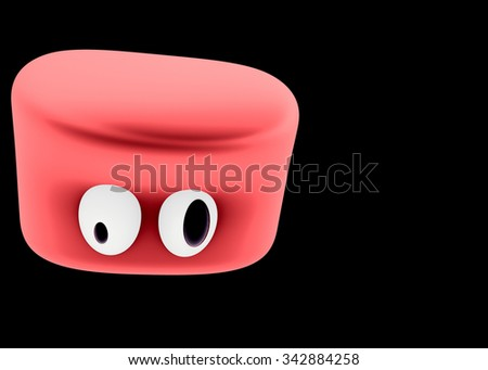 Surprised red slime character - stock photo