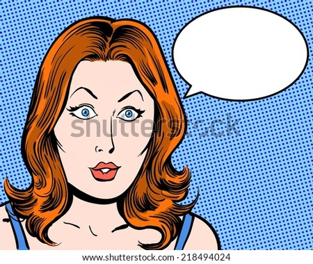 Surprised redhead beauty comic pop character with speech bubble and blue background - stock photo