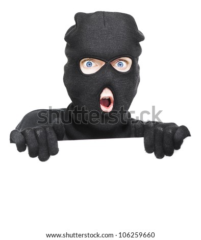 Surprised Robber Caught Holding A Blank White Board During A Break And Enter In A Home Security Copyspace Conceptual, Isolated On White Background