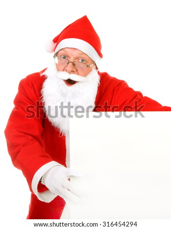 Surprised Santa Claus with Blank Board on the White Background