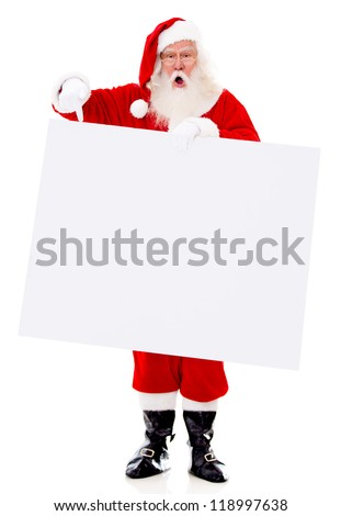 Surprised Santa with a banner - isolated over a white background