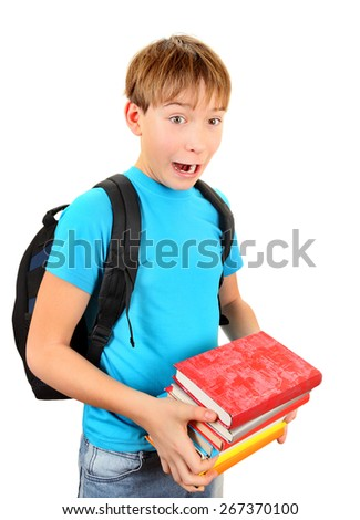 Surprised Schoolboy with a Books Isolated on the White Background - stock photo