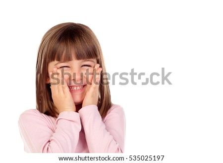 Surprised small girl making gestures isolated on a white background