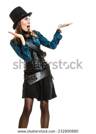 surprised steampunk retro woman or cabaret girl showing open hand palm with copy space for product text studio shot isolated on white background - stock photo