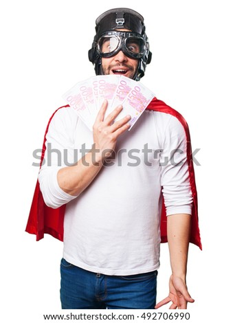 surprised super hero winning money