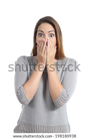 Surprised woman expression with wide opened eyes isolated on a white background - stock photo