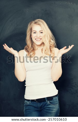 Surprised woman, happy girl excited - stock photo
