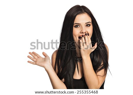 Surprised woman holding hand in front open mouth. Portrait of gorgeous white caucasian female model isolated on white background. - stock photo