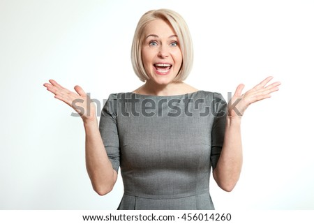 Surprised woman isolated on white background. Human face expression, emotions, feeling attitude reaction - stock photo
