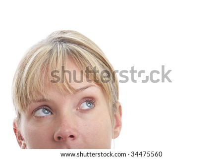 Surprised woman looking up with white background