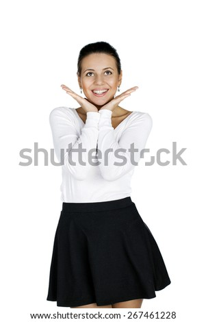 Surprised woman showing open hand palm, Gorgeous, smiling white caucasian female model isolated on white background - stock photo