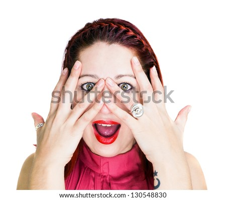 Surprised woman with open hands over his face, staring at the camera with her mouth open. White Background