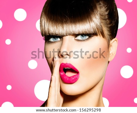 Surprised Woman with open Mouth. Pin up Girl. Make up. Beauty Woman over Pink Background. Open Mouth, Emotions  - stock photo