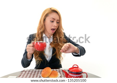 Surprised young business woman - stock photo