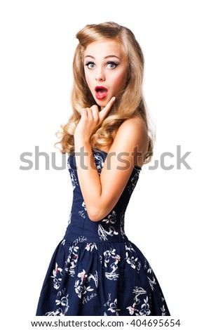 surprised young pinup styled girl isolated on white - stock photo