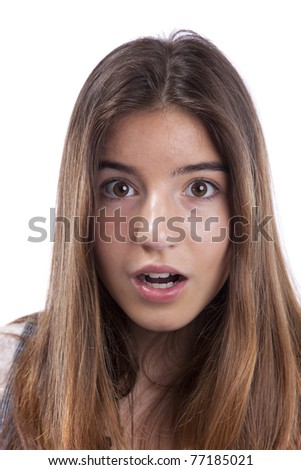 Surprised young teenager  woman face with her mouth open (isolated on white) - stock photo
