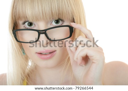Surprised young woman in glasses isolated over white background - stock photo