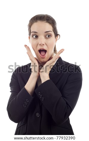 Surprised young woman looking at something isolated over white background - stock photo