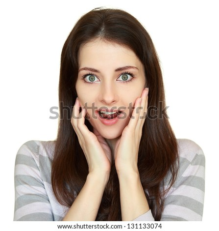 Surprising casual woman holding hands at face with opened mouth and big eyes looking isolated on white background - stock photo