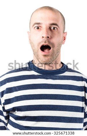 surprising man portrait - stock photo